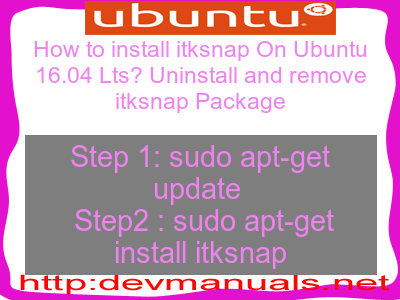 How to install itksnap On Ubuntu 16 04 Lts? Uninstall and